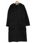 saqui(サキ)の古着「アルパカ ウール ノーカラー コート」|ブラック
