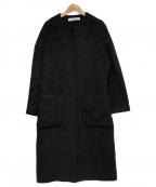 saqui(サキ)の古着「アルパカ ウール ノーカラー コート」 ブラック