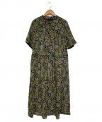 Jocomomola(ホコモモラ)の古着「総柄ワンピース」|グリーン