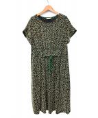 Jocomomola(ホコモモラ)の古着「ジャガードマルチカラーワンピース」|ブラック×グリーン