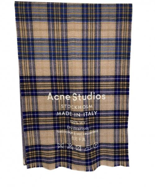 ACNE STUDIOS(アクネステュディオズ)ACNE STUDIOS (アクネステュディオズ) ロゴチェックスカーフ オートミールベージュ/ブルーチェック 定価25.000円+税の古着・服飾アイテム