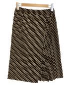 Paul Stuart(ポールスチュアート)の古着「ジオメトリックパターンプリントスカート」 ブラック