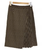 Paul Stuart(ポールスチュアート)の古着「ジオメトリックパターンプリントスカート」|ブラック