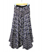 EPOCA(エポカ)の古着「フローラルプリント スカート」|パープル×ブラック