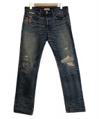 Ron Herman DENIM(ロンハーマンデニム)の古着「リペア 加工 デニム パンツ」 インディゴ