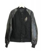 UNDERCOVER(アンダーカバー)の古着「W/Caビーバー袖レザースタジャン I.A」|ブラック
