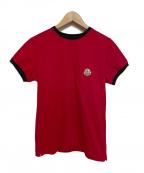 MONCLER(モンクレール)の古着「ロゴワッペントリムポケットTシャツ」|レッド