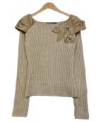 MS GRACY(エムズグレイシー)の古着「ショルダーデザインニット」|ベージュ