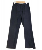 MARGARET HOWELL(マーガレットハウエル)の古着「ウォッシュドリネンコットンポプリントラウザーパンツ」|ネイビー