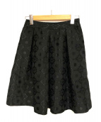 MS GRACY(エムズグレイシー)の古着「花柄タックスカート」|ブラック