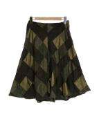 tricot COMME des GARCONS(トリコ コムデギャルソン)の古着「キュプラ混パネリングスカート」|グリーン