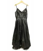 EmiriaWiz(エミリアウィズ)の古着「エコレザーロングワンピース」|ブラック