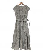 BLUEBIRD BOULEVARD(ブルーバードブルバード)の古着「ボーダ ーリネン ドレス」 ホワイト