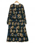 Jocomomola(ホコモモラ)の古着「ジャカードフラワーワンピース」|ブラック