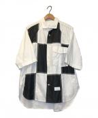 Name.(ネーム)の古着「パネリング半袖シャツ」 ホワイト×ブラック