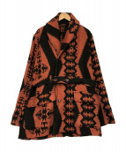 KAPITAL(キャピタル)の古着「リネンウールナバホブランケット/マッキーノジャケット」|レッド×ブラック