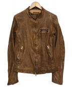 ISAMU KATAYAMA BACKLASH(イサムカタヤマ バックラッシュ)の古着「ドイツカーフ製品染めシングルライダースレザージャケット」|ブラウン