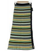 Hysteric Glamour(ヒステリックグラマー)の古着「MULTIボーダー編上げスカート」|グリーン×ブラック