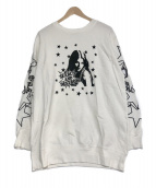 Hysteric Glamour(ヒステリックグラマー)の古着「SEARCH AND DESTROYプリントスウェット」 ホワイト×ブラック