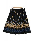 MS GRACY(エムズグレイシー)の古着「花柄スカート」|ブラック