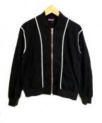 SueUNDERCOVER(スーアンダーカバー)の古着「トリムジップブルゾン」|ブラック×ホワイト