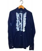 ()の古着「フリルブザムシャツ」 ネイビー