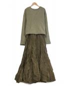 Mila Owen(ミラオーウェン)の古着「深Vニットワッシャースカートレイヤードワンピース」|グリーン