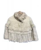 GRACE CONTINENTAL(グレースコンチネンタル)の古着「カシミヤ混フォックスファージャケット」|ベージュ