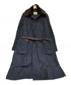 KOLOR()の古着「ナイロンウェザーラビットファーコート」|ネイビー