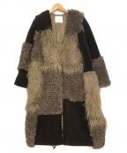 LAGUNA MOON(ラグナムーン)の古着「パッチワークエコファーコート」|ブラック