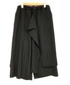 B Yohji Yamamoto(ビーヨウジヤマモト)の古着「デザインワイドパンツ」|ブラック