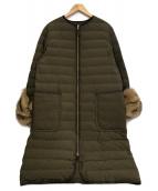 Mila Owen(ミラオーウェン)の古着「袖エコファーシームレスダウン」|グリーン