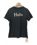 MADISON BLUE(マディソンブルー)の古着「ハロープリントクルーネックTシャツ」|ブラック