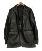 KATHARINE HAMNETT(キャサリンハムネット)の古着「レザーテーラードジャケット」 ブラック
