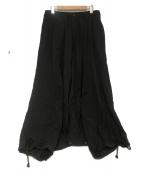 YOHJI YAMAMOTO(ヨウジヤマモト)の古着「Sarouel Skirt Wrinkled Gabardi」|ブラック