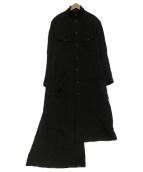 YOHJI YAMAMOTO(ヨウジヤマモト)の古着「Wrinkled Gabardine Stand faste」|ブラック
