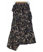 UNITED TOKYO(ユナイテッドトウキョウ)の古着「ゼブラジオメトリースカート」|ネイビー