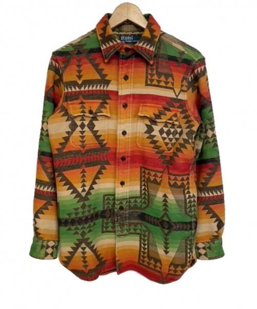 POLO RALPH LAUREN(ポロ・ラルフローレン)POLO RALPH LAUREN (ポロラルフローレン) ネイティブ柄シャツ オレンジ サイズ:S 希少の古着・服飾アイテム