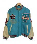 TED COMPANY(テッドカンパニー)の古着「袖レザースタジャン」 ネイビー