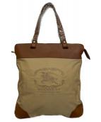 BURBERRY(バーバリー)の古着「エンブレムロゴ刺繍トートバッグ」|ベージュ×ブラウン