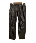 ISSEY MIYAKE(イッセイミヤケ)の古着「アーカイブLeather Pants」|ブラック