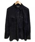 RALPH LAUREN PurpleLabel(ラルフローレンパープルレーベル)の古着「GOAT SUEDE レザーシャツ」|ネイビー