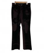 Jean Paul Gaultier homme(ジャンポールゴルチェオム)の古着「フロッキーデザインストレートパンツ」 ブラウン×ブラック