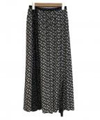 BEARDSLEY(ビアズリー)の古着「ランダムフレアパッチワークロングスカート」 ブラック×ホワイト