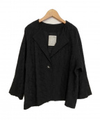 BEARDSLEY(ビアズリー)の古着「ノーカラー刺繍ジャケット」 ブラック