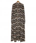 AKTE(アクテ)の古着「サファリ柄パターンロングL/Sブラウスワンピース」|グレー