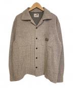 GANGSTERVILLE(ギャングスタービル)の古着「ハウンドトゥースオープンカラーシャツ」|グレー