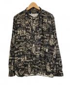 BY GLAD HAND(バイグラッドハンド)の古着「総柄L/Sバンドカラーシャツ」|ブラック