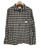 GANGSTERVILLE(ギャングスタービル)の古着「イタリアンカラーチェックL/Sシャツ」|グレー