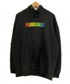 PLEASURES(プレジャーズ)の古着「グラデーションロゴプルオーバーパーカー」 ブラック